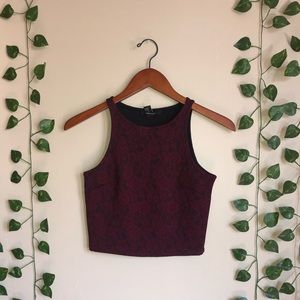Forever 21 Maroon lace tank top crop top